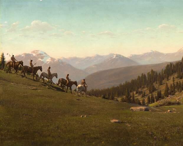 Пять индейцев-всадников в Монтане, начало 1900-х.