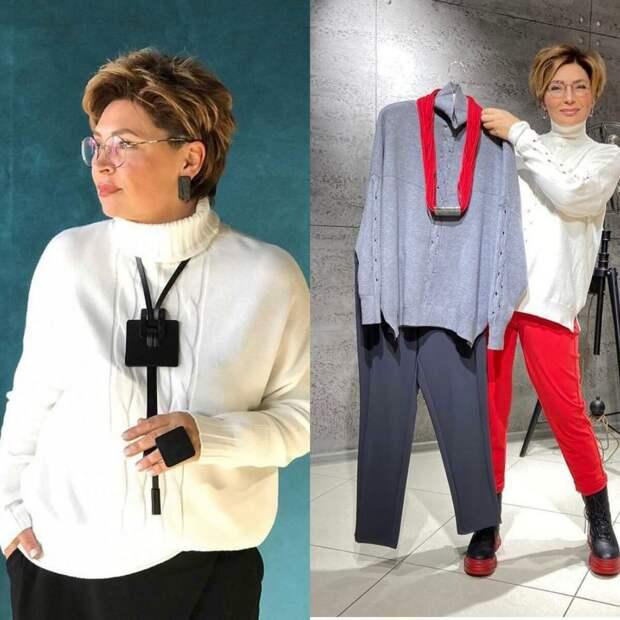 Стильные уютные свитера для женщин 40 +