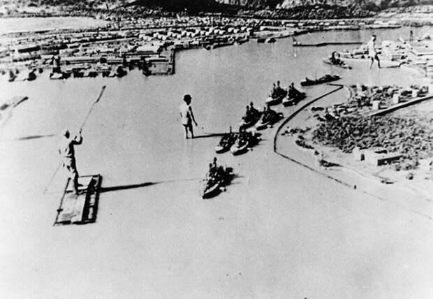 Макет базы Военно-морского флота США в Пёрл-Харборе, построенный в Японии для съемок фильма в 1942 году Великая отечественая война, архивные фотографии, вторая мировая война