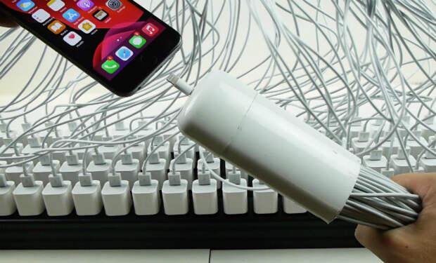 Подключили к айфону одновременно 100 зарядок и проверяем, зарядится ли быстрее