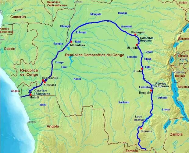 Река Конго на карте