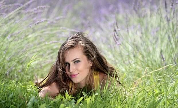 Девушка, Лаванда, Цветы, Mov, Красота