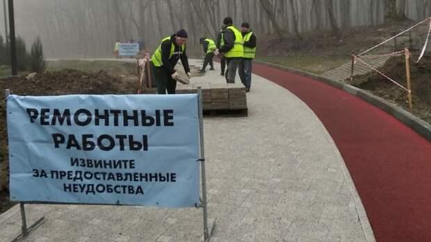 «Поехавшую» тротуарную плитку наКомсомольском озере Ставрополя обещают восстановить