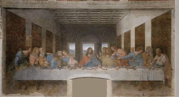 Леонардо да Винчи «Тайная вечеря» 1495–1498Находится в монастыре Санта-Мария делле Грацие в Милане.