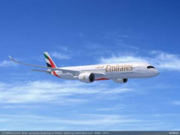 Airbus A350-900 в ливрее авиакомпании Emirates, рендер