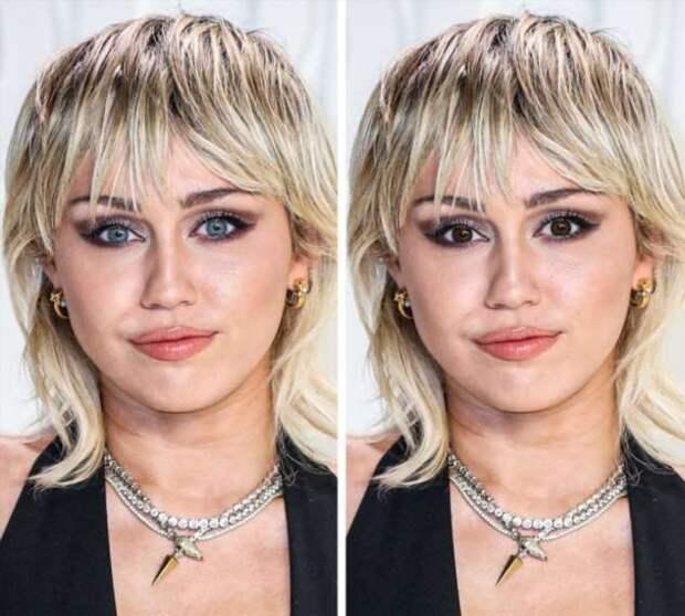 Как бы выглядели 20 голубоглазых знаменитостей, если бы у них были карие глаза