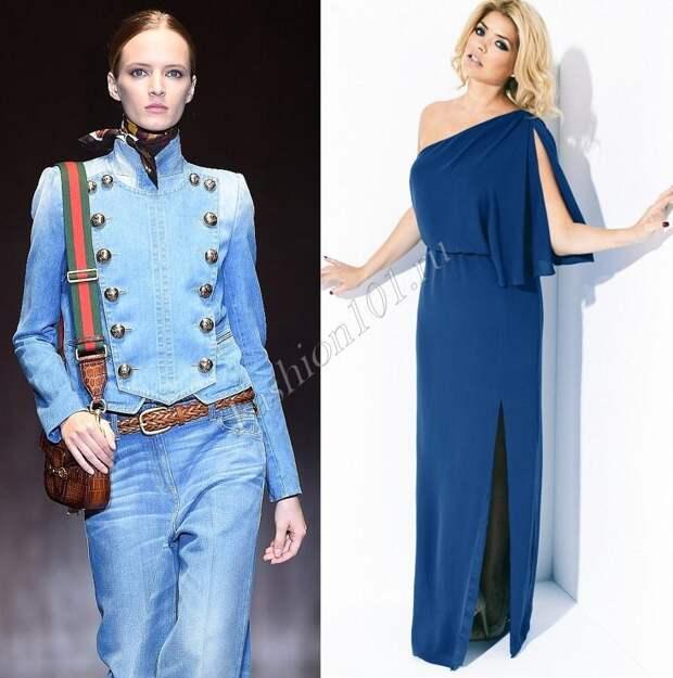 джинсовый костюм и платье из 70-х