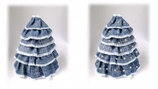 Декоративная елочка из джинсовой ткани. Мастер-класс