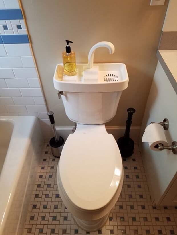 Помыв руки после туалета, используйте воду во второй раз - для слива идеи, необычно, нестандартно, нестандартные идеи, оригинально, оригинальные решения, проблемы, решения