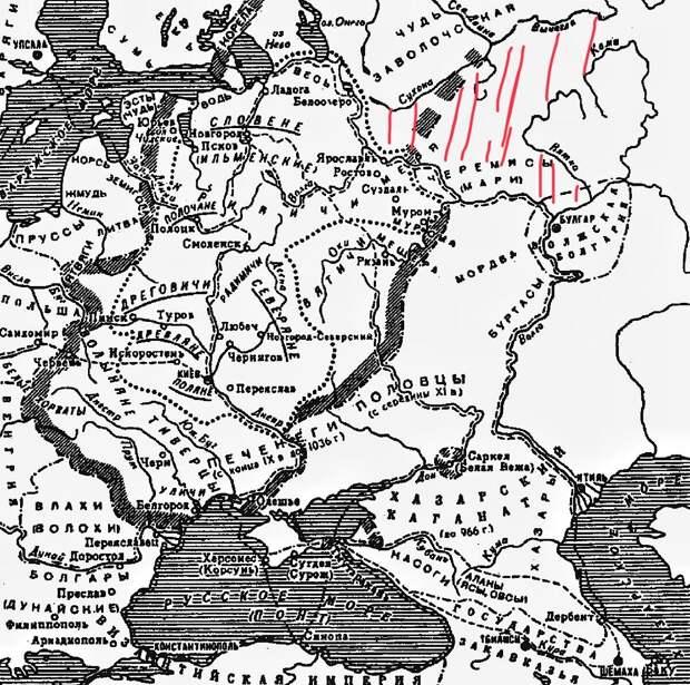 карта Евразии IX-XI век. Новый дом иранских племен мари красным