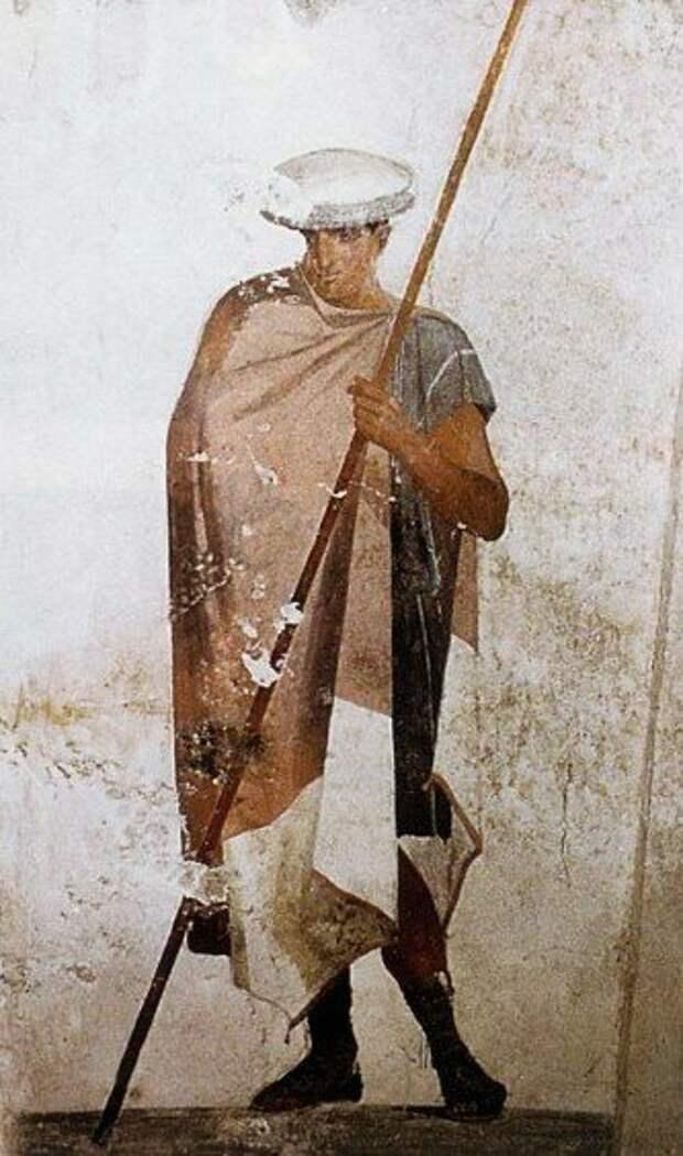 Солдат македонской фаланги на оригинальной фреске IV века до н.э.