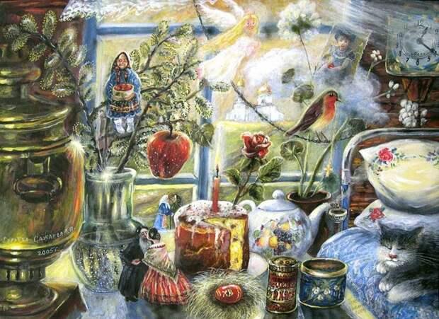 Источник: artnow.ru. Александра Гурьева-Сажаева «Пасха у тети Дуси» (2004)