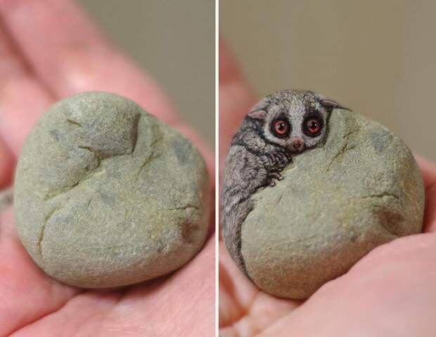 Японская художница превращает камни в милейших животных