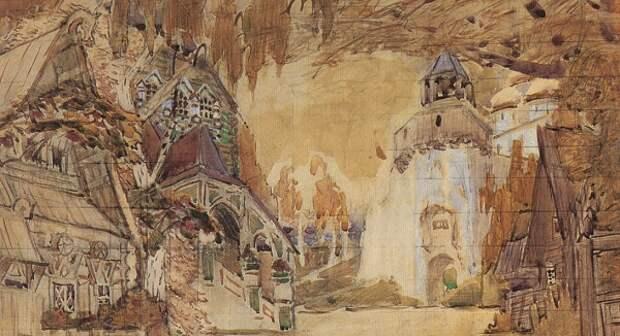 Александровская слобода. Эскиз декорации к опере «Царская невеста».