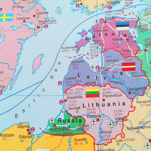 Карта современных Эстонии, Латвии и Литвы. Сравните с картой Курляндской губернии... Фотография взята из открытого источника.