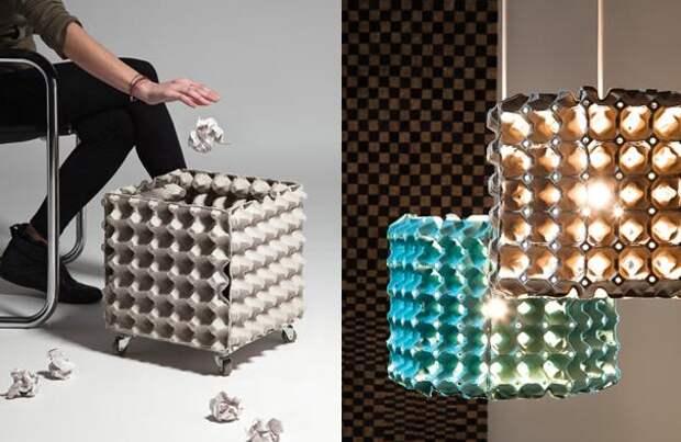 Мусорку или такую необычную люстру вторая жизнь вещей, контейнер из-под яиц, коробка из-под яиц, своими руками, сделай сам