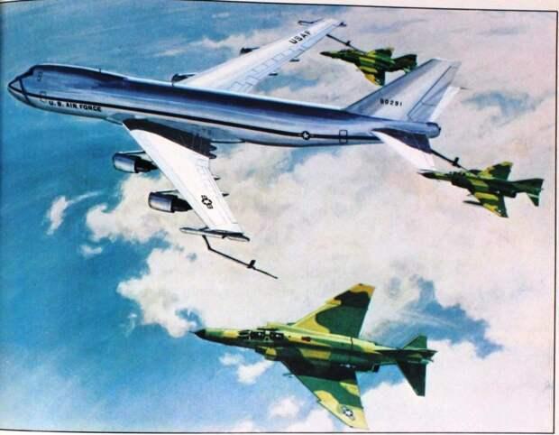 Самолёт-заправщик на базе «Боинга-747» мог действовать совместно с ААС. Унификация с подобными проектами серьёзно снижала цену летающего авианосца - Симбиоз небесных гигантов и карликов   Warspot.ru