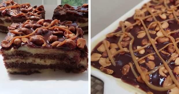"""Любимый торт """"Сникерс"""" готовлю без выпечки: трачу всего 15 минут"""