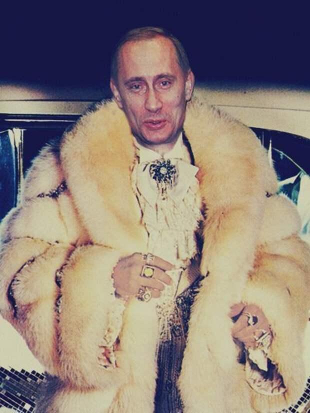 Владимир Путин в образе сутенёра.  Карикатурный фотомонтаж начала 00-х.