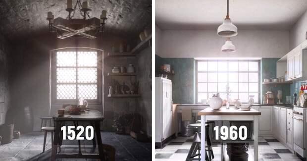 От котла к минимализму: дизайнеры показали, как менялся интерьер кухни в течение 500лет