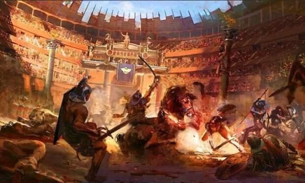 Гладиаторские бои часто проходили с участием хищных животных.