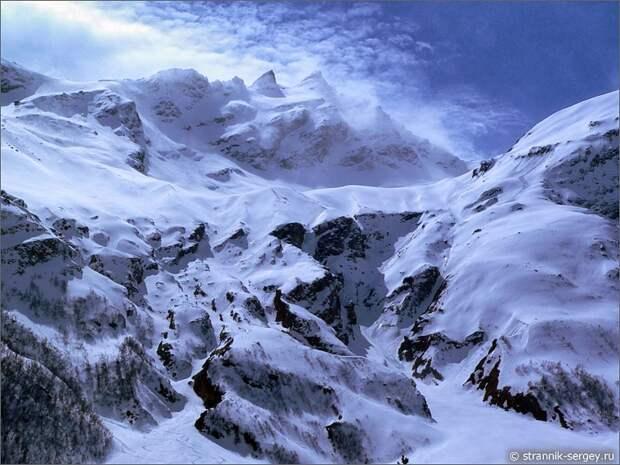 Баксанское ущелье гора Когутай снег лед камни вершины