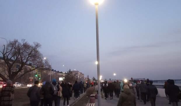 Несогласованная акция вподдержку Навального вОмске прошла без задержаний