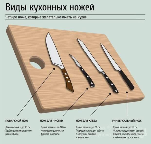 Какие кухонные ножи бывают. Разновидности
