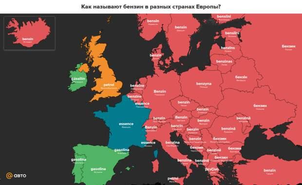 Как называют бензин вразных странах Европы?