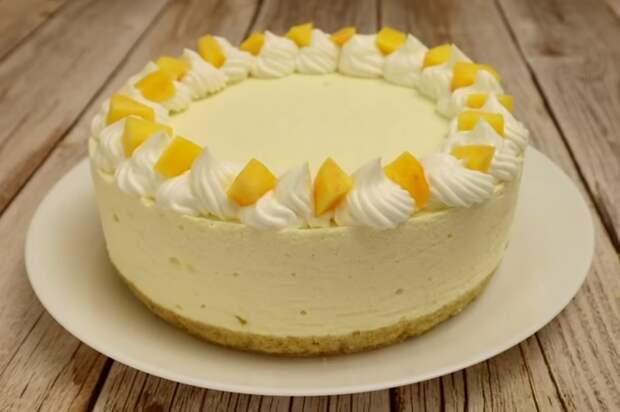 Персиковый торт суфле без выпечки! Всегда готовлю его на день рождения дочери