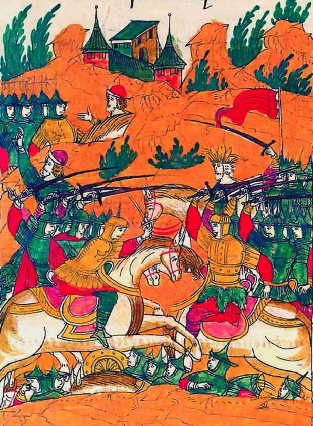 Первый день битвы при Судьбищах. Миниатюра из Лицевого свода, том 22 - «Ознаменованная славой отчаянной битва…» | Warspot.ru