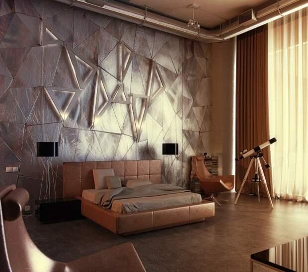 Акцентная стена выделена при помощи освещения.
