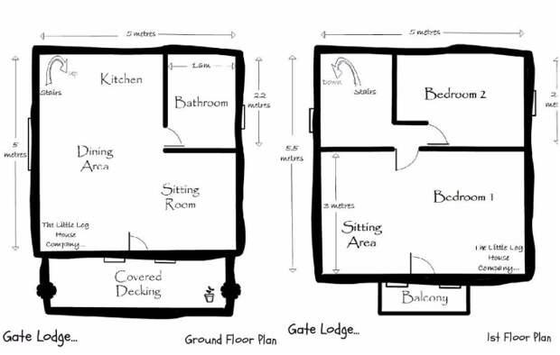 Планировка первого и второго яруса бревенчатого дома «Stunning Gate Lodge», созданного компанией The Little Log House.   Фото: stiri.magazinuldecase.ro.