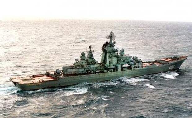 """На фото: тяжелый атомный крейсер """"Адмирал Нахимов"""""""
