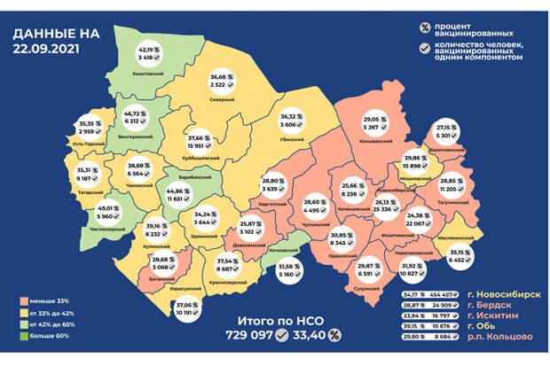 В каких районах Новосибирской области больше привитых от COVID-19 – карта