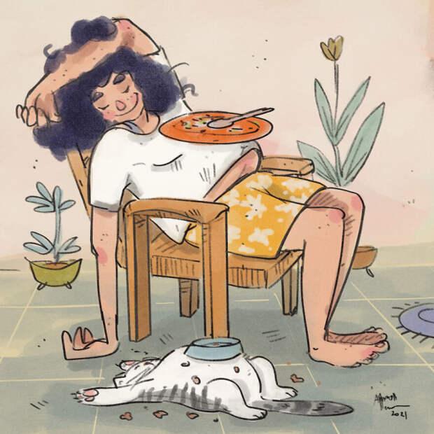 Карантинная жизнь с кошкой в иллюстрациях индийской художницы Аннады Менон (14 фото)
