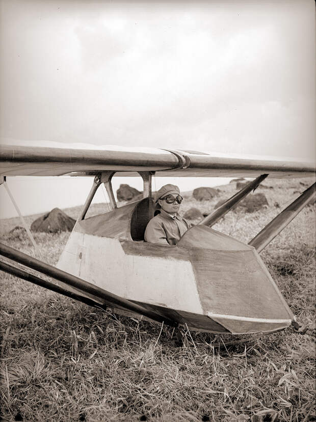 Glider & Pilot in Goggles, 1930s Japan