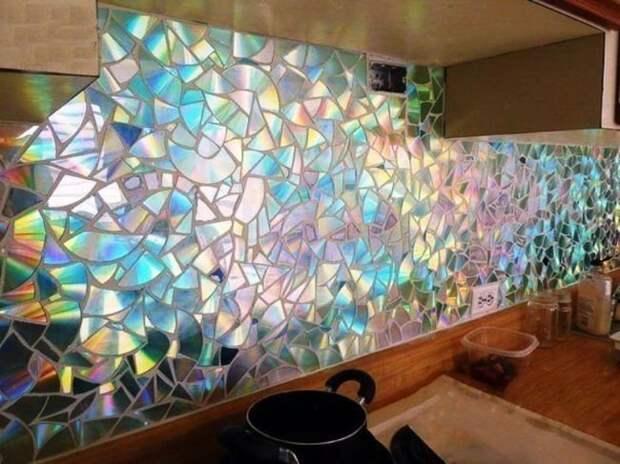 Мозаика из компакт-дисков декорации, компакт диск, кухня, своими руками