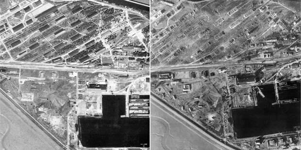 Склады боеприпасов кригсмарине вВильгельмсхафене доипосле бомбардировки