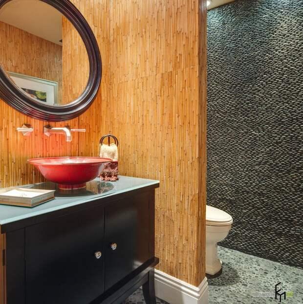 Сочетание серого и песочного в интерьере ванной