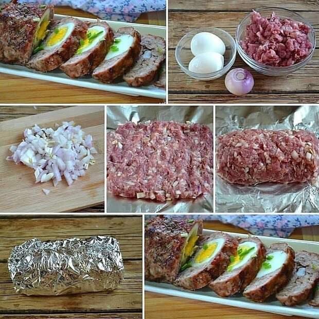 Рецепт вкусного запеченного мясного рулета с яйцом