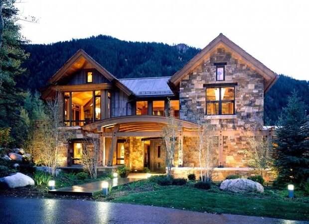 Красивое оформление фасадов с камнем