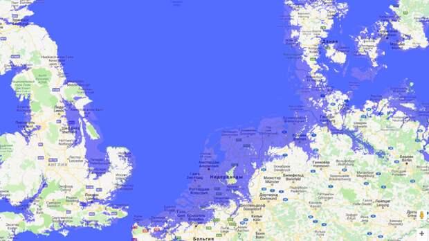 Вот какие местности затопит в Англии и Нидерландах, если вода поднимется на 20 метров (картинка увеличивается кликом)