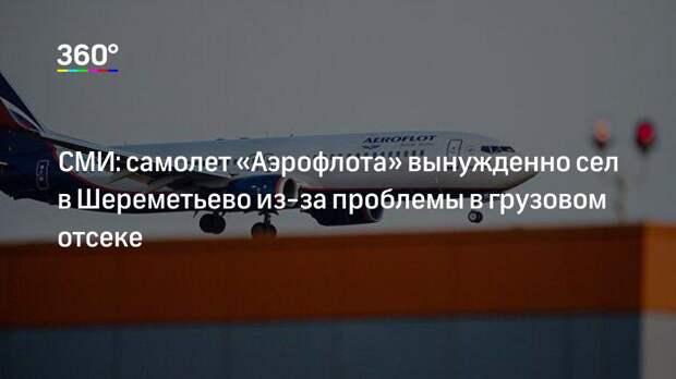 СМИ: самолет «Аэрофлота» вынужденно сел в Шереметьево из-за проблемы в грузовом отсеке