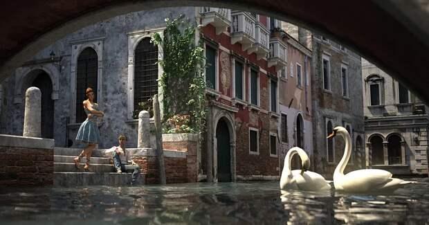 Природа восстанавливает баланс: в каналы Венеции вернулись лебеди и рыба