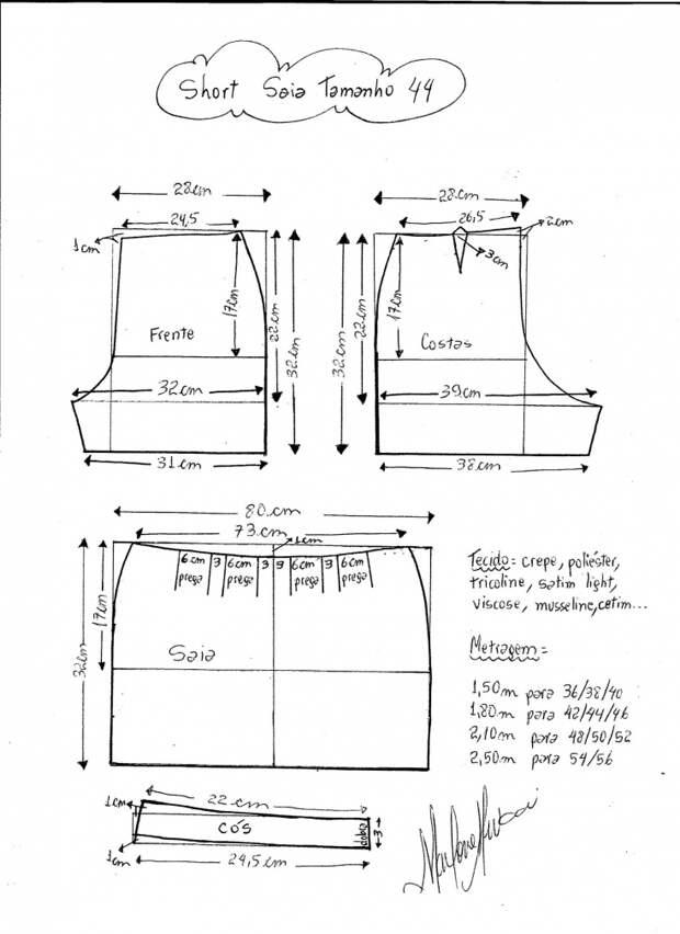 Легкая юбка-шорты (выкройки)