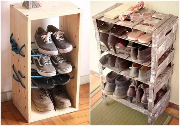 Полки для обуви из ящиков. \ Фото: google.com.ua.