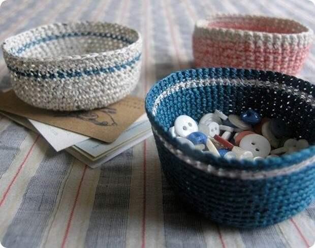 Корзинки, вязанные крючком, для уютного дома