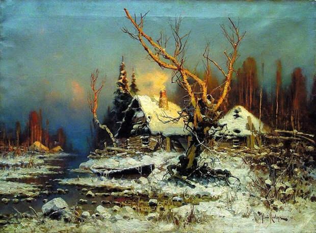 Зимний пейзаж с избушкой. (700x516, 506Kb)