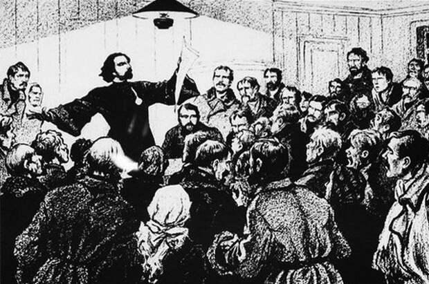 Гапон читает лекцию в собрании рабочих. Неизвестный художник.